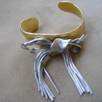 Silver Bow on a Gold Cuff - one of a kind
